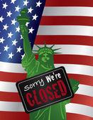 Government Shutdown Statue of Liberty Closed Sign Illustration — Stock Vector