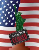Government Shutdown Statue of Liberty Illustration — Stock Vector