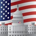 Washington DC Capitol US Flag Background — Stock Vector #32676377