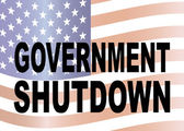 Government Shutdown Text with US Flag Illustration — Stock Vector