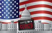 Washington DC Capitol with We Are Closed Sign — Stock Vector