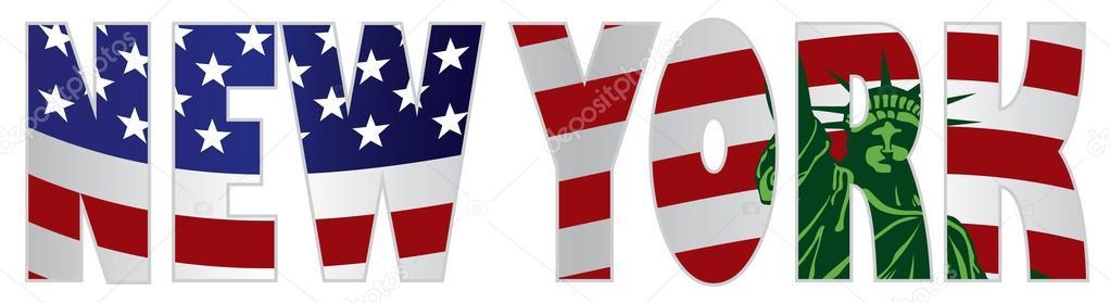 New york text skizzieren uns flagge freiheitsstatue for Vacanza a manhattan