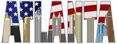 Atlanta Georgia Text Outline US Flag Color — Stock Vector