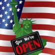 Government Shutdown We Are Open Sign with US Flag — Векторная иллюстрация