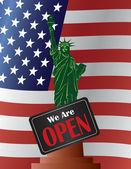 Government Shutdown Open Sign Statue of Liberty Illustration — Stock Vector