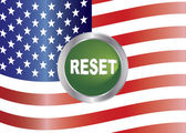 Government Shutdown Reset Button with US Flag Illustration — Stock Vector