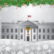 Washington DC White House Christmas Scene Illustration — Stock Vector