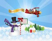 Santa in Plane Flying Over Snow Scene — Stock Vector