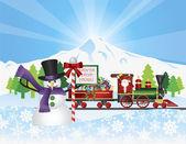 Santa op trein met sneeuwtafereel — Stockvector