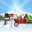 Santa on Vintage Car With Snow Scene — Stock Vector