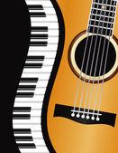 фортепиано волнистой каймой с гитара иллюстрации — Cтоковый вектор