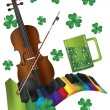 St Patricks Day Violin with Colorful Piano Keyboard — 图库矢量图片