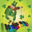 St Patricks Day Leprechaun Dancing on Piano Keyboard — Stock Vector