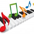 Piano Keyboard and 3D Music Notes Illustration — Stok Vektör