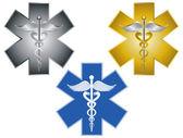 Star of Life Caduceus Medical Symbol Vector Illustration — Stock Vector