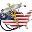 Stock Vector: Stethoscope with USFlag Map and Caduceus