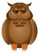 Brown Great Horned Owl Illustration — Stock Vector