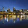 Portland Downtown with Hawthorne Bridge at Blue Hour — Stock Photo