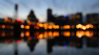 Portland Oregon Skyline with Hawthorne Bridge Out of Focus Blurred Bokeh City Lights Beautiful Water Reflection at Blue Hour 1920x1080 — Stock Video