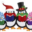 Penguins Christmas Carolers Illustration — Stock Vector