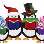 Penguins Christmas Carolers Illustration — Stock Vector