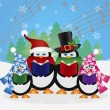 Penguins Christmas Carolers Snow Scene Illustration — Stock Vector