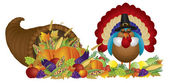 Cornucopia with Bountiful Harvest and Pilgrim Turkey — Vetorial Stock