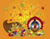 Thanksgiving Day Feast Cornucopia Turkey Pilgrim with Background — Stock Vector