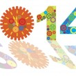 Happy New Year 2014 with Colorful Gears Illustration — Stock Vector