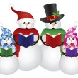 Stock Vector: Snowman Christmas Carolers Illustration
