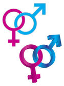 Male and Female Gender Symbol Intertwined — Stock Vector