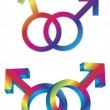 Male Gay Gender Symbols Intertwined Illustration — Stock Vector