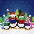 penguins carolers with night winter scene — Stock Vector