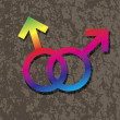 Male Gay Gender Symbols Interlocking Illustration — Vettoriali Stock