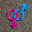 Male Female Gender 3D Symbols Interlocking Illustration — Vettoriali Stock