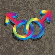 Male Gay Gender 3D Symbols Interlocking Illustration — Vettoriale Stock #35696801