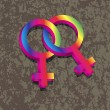Female Lesbian Gender 3D Symbols Interlocking Illustration — Stock Vector
