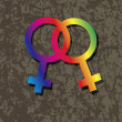 Female LesbiGender Symbols Interlocking Illustration — Vettoriale Stock #35696827