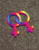 Female Lesbian Gender 3D Symbols Interlocking Illustration — Stock Vector