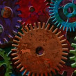 Colorful Rusty Mechanical Gear Parts Rotating and Moving on Grunge Texture Background with Lighting and Shadows 1920x1080 — Stock Video