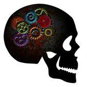 生锈齿轮的头骨 grunge 纹理剪影 — 图库照片