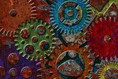 Rusty Gears on Grunge Texture Background — Stock Photo