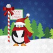 Penguin at Santa Stop Here Sign — Grafika wektorowa