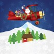 Santa Claus on Biplane with Presents on Night Snow Scene — Stock Vector