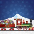 Santa Claus on Train with Presents on Night Snow Scene — Stock Vector