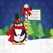 Penguin Top Hat at Santa Stop Here Sign — Stock Vector
