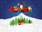 Santa claus op dubbeldekker met presenteert op sneeuw nachtbeeld — Wektor stockowy