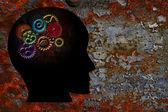 Rusty Gears on Human Head Grunge Texture Background — Stock Photo