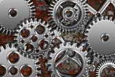 Chrome Gears on Grunge Texture Background — Stock Photo