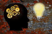 Gold Gears Human Head Lightbulb Grunge Texture Background — Stock Photo